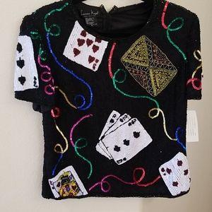 NWT- Vintage Laurence Kazar Poker Beaded Top Sz XL